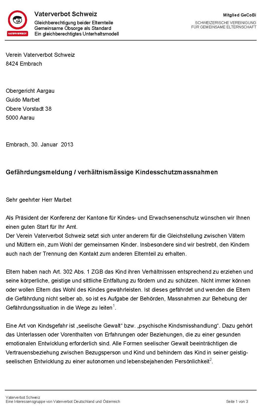 Anfrage Guido Marbet Gefährdungsmeldung S1
