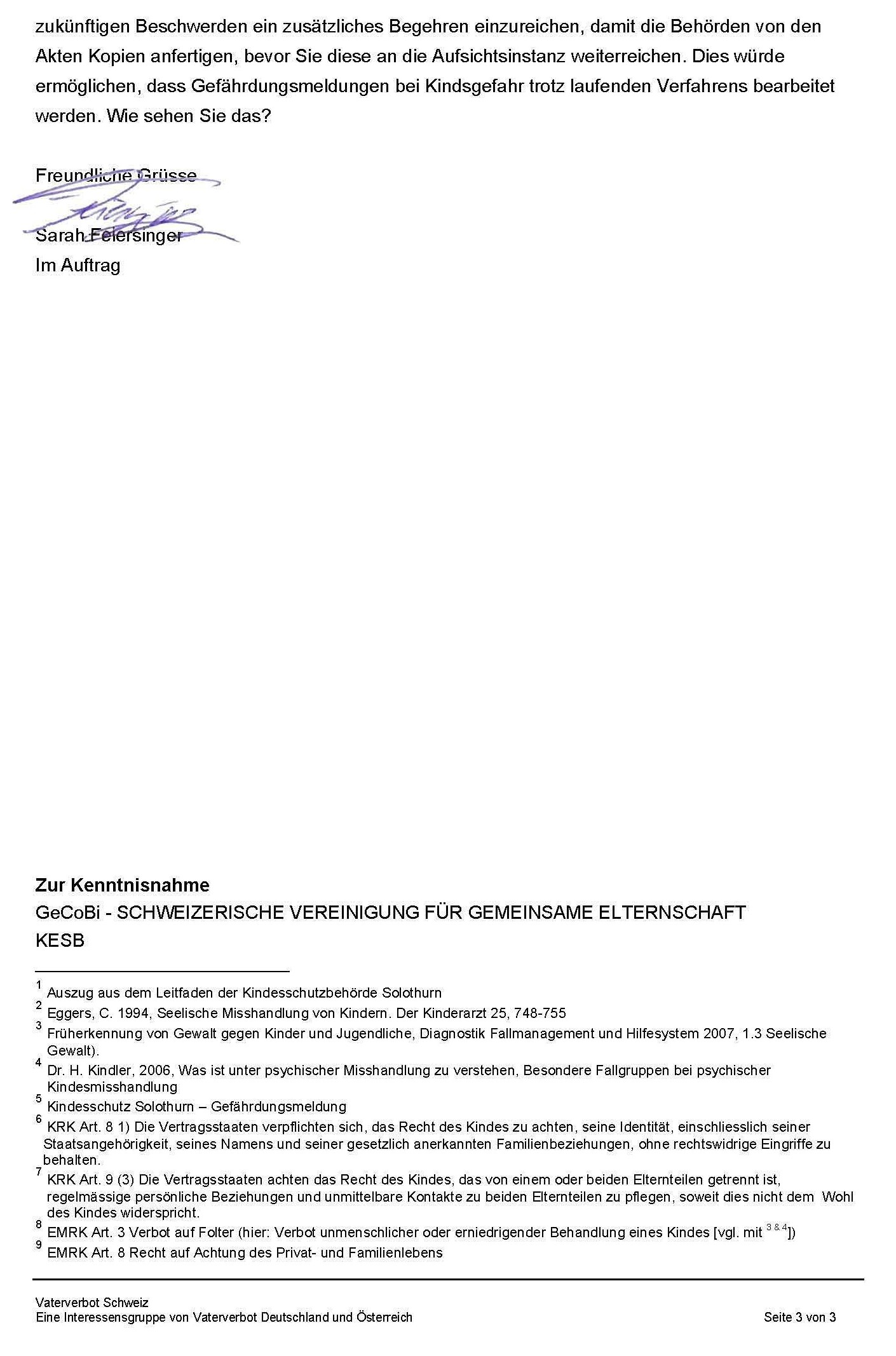 Anfrage Guido Marbet Gefährdungsmeldung S3